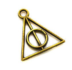 Подвеска Знак Гарри Поттера 13х11мм, 50шт. (бронза)