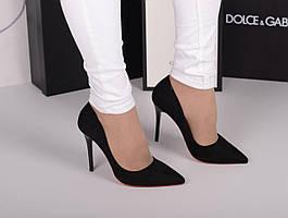Черные туфли лодочки каблук шпилька