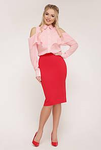 Женская шифоновая блузка с воланом Джанина д/р