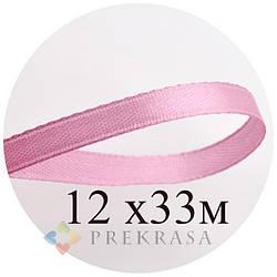 Атласная лента 6мм розовая, 33м. (12 катушек)