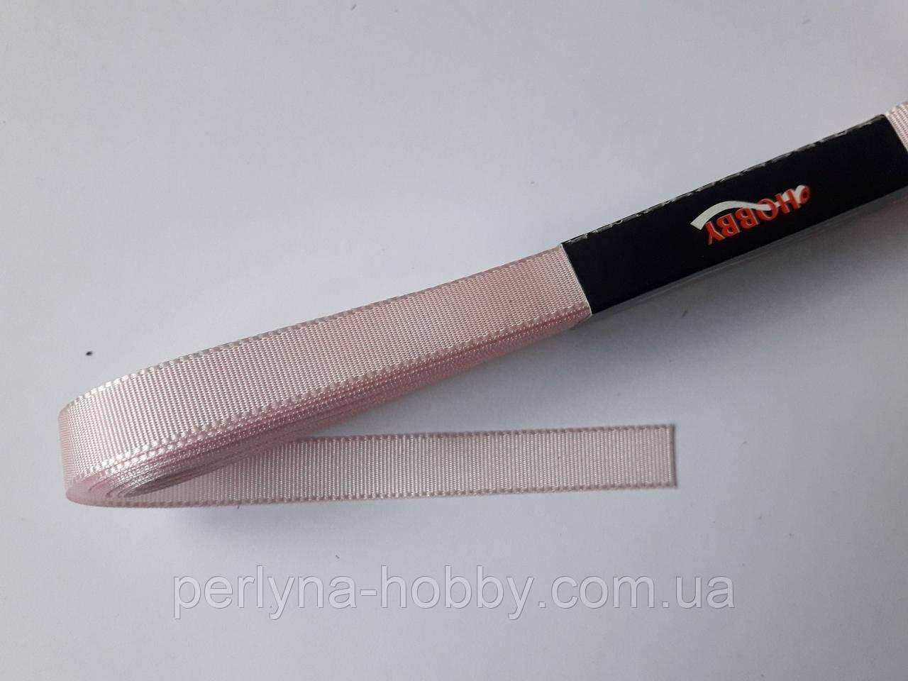 Стрічка репсова 1 см( 10 метрів) рожева пастельна