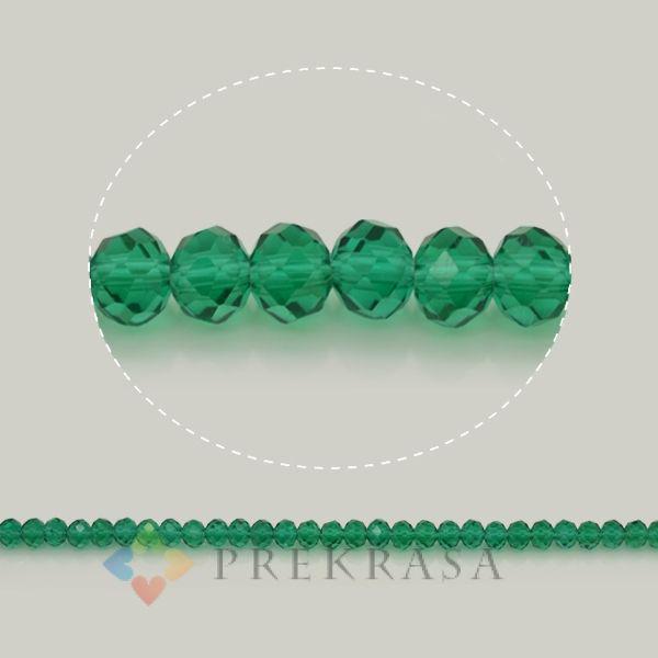 Бусины сваровски зеленые 6мм,99 шт.