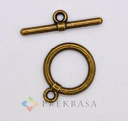 Тогл застежка в бронзе. Размер 13 мм, 10 шт.