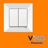 Выключатель 2-х клавишный VIKO Meridian Белый