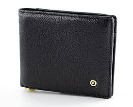 Чоловіче портмоне з затиском з натуральної шкіри в чорному кольорі SALFEITE (Салфет) 2142-B