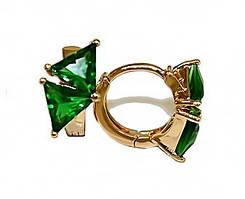 Серьги детские, фирма Xuping.Цвет: позолота. Камни: зелёный циркон. Высота серьги: 1,1 см. Ширина: 6 мм.