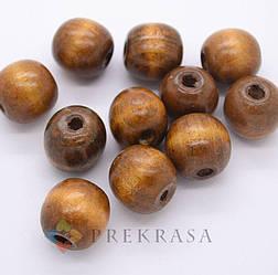 Деревянные бусины 16мм, 100г, 68шт. (коричневые)