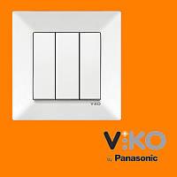 Выключатель 3-х клавишный VIKO Meridian Белый
