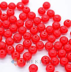 Бусины пластиковые 12мм, 50шт., цвет на выбор.   (красный)