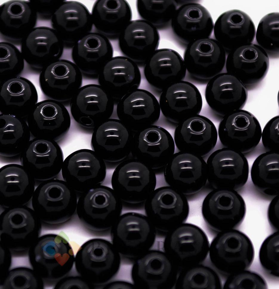 Бусы шар пластик 12мм, 50шт., цвет на выбор.   (черный)
