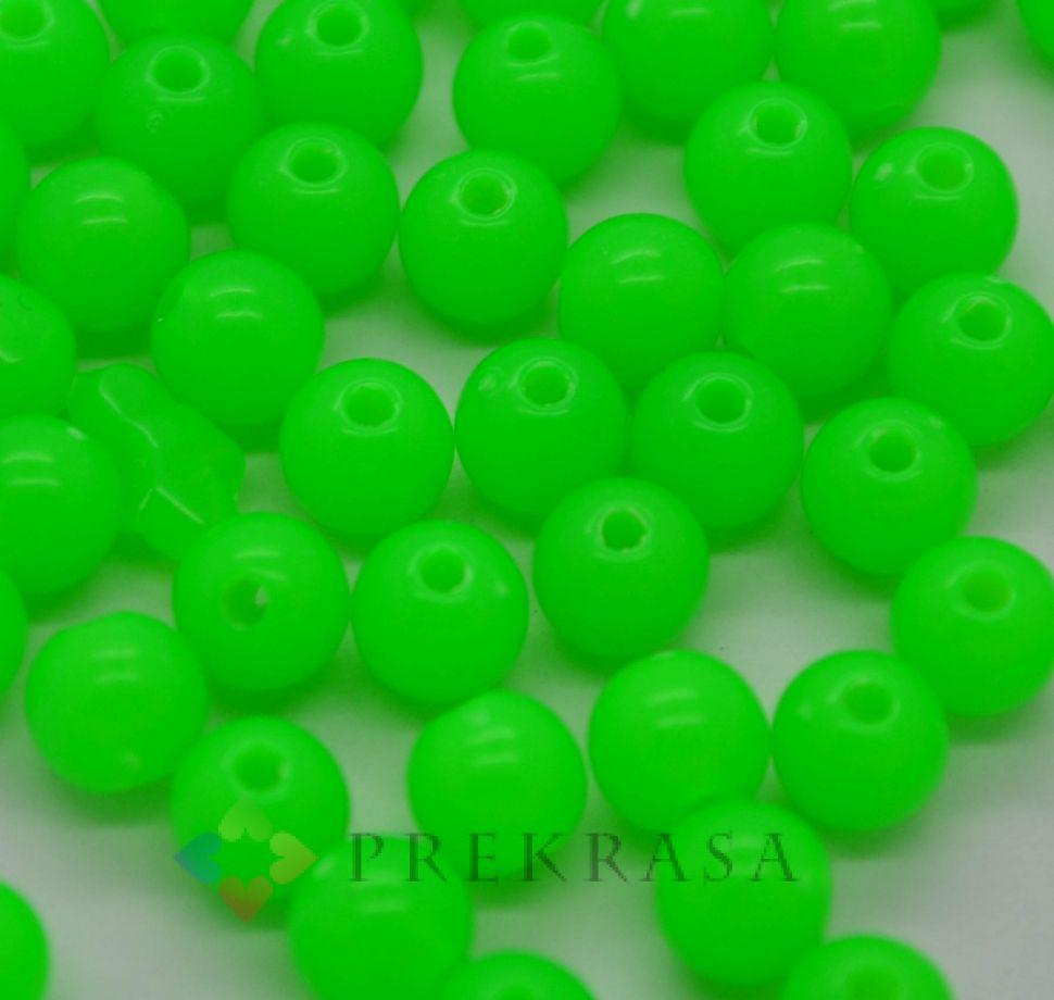 Бусы шар пластик 6мм, 400шт., цвет на выбор. (зеленый)