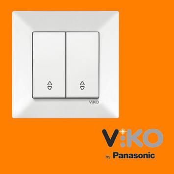 Переключатель проходной 2-х клавишный VIKO Meridian Белый, фото 2