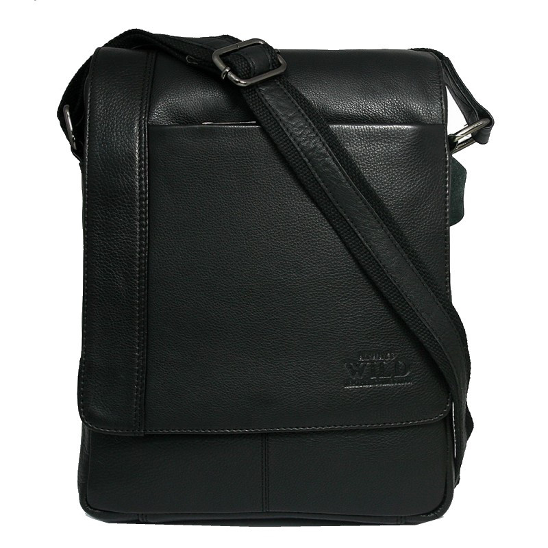 Кожаная мужская сумка через плечо Always Wild 772-NDM black