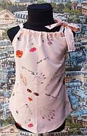 Летняя детская блузка плечо завязка  р.116-134 персик
