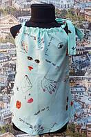 Летняя детская блузка с завязками на плече  р.116-134 мята , фото 1