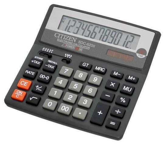 Калькулятор Citizen SDC-620II бухгалтерский 12р., фото 2