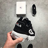 """Кроссовки Fila Disruptor II """"Black/white"""". Живое фото (Реплика ААА+), фото 2"""