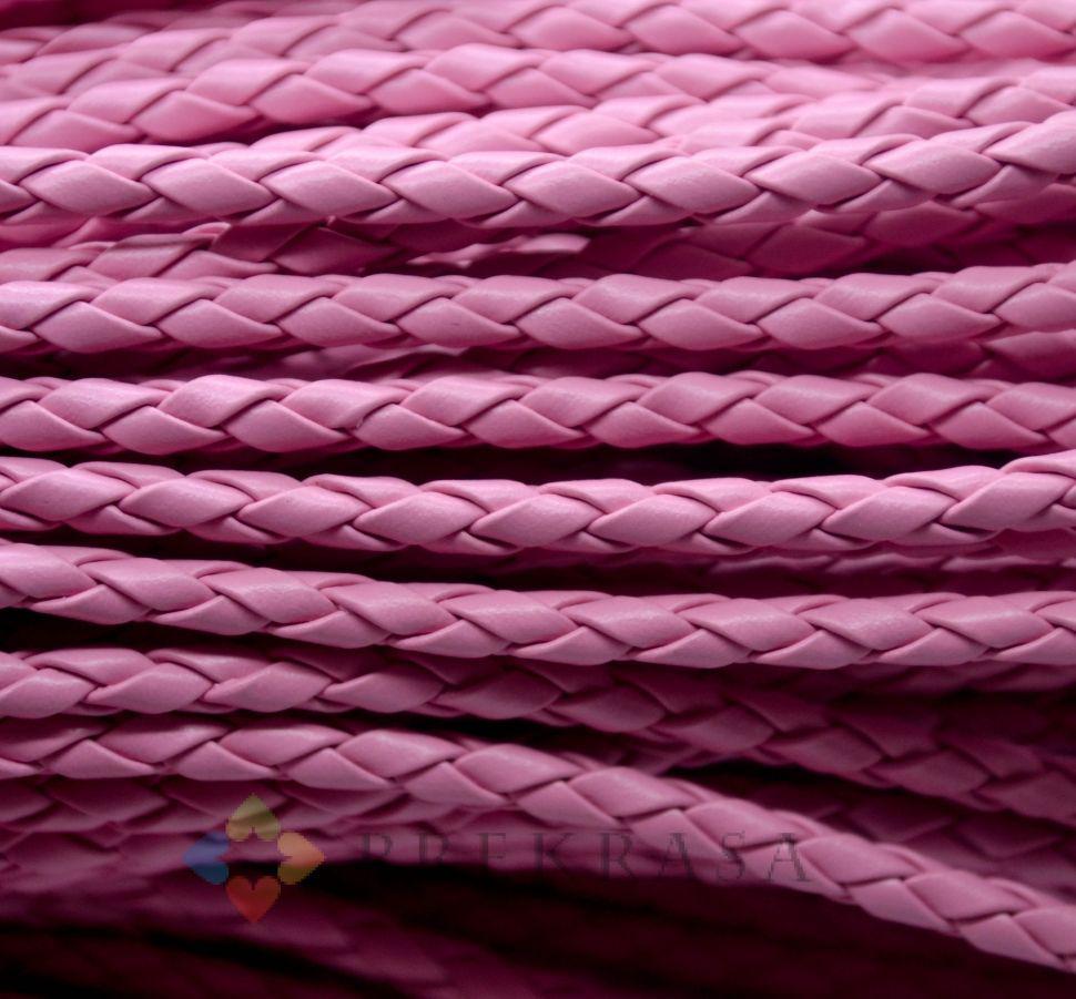 Шнур  плетеный, 3мм, 1м, цвет на выбор. (розовый)