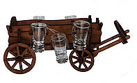 Мини-бар с рюмками деревянный Телега 1