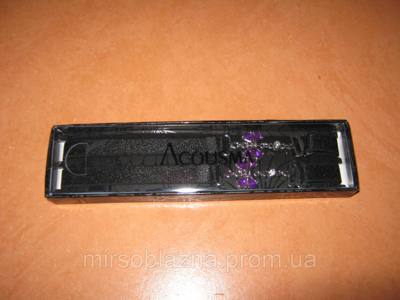 Бретели Acousma тканевые черные с бабочками из камней