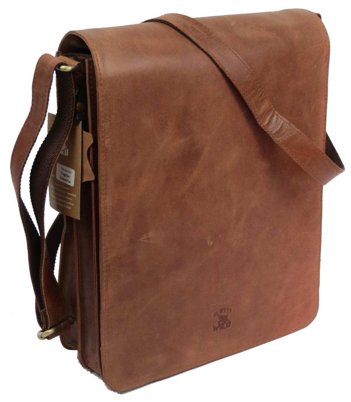 Мужская кожаная сумка планшетка Always Wild TIM-42 Cognac