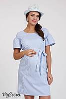 Стильное платье из поплина для беременных и кормящих KAMILLA DR-28.081, голубое в полоску*, фото 1