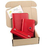 Подарочный набор №21: обложка на паспорт +картхолдер + ключница (красный)