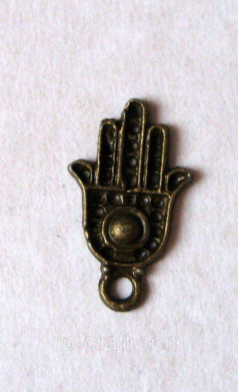 Підвіска металева. Рука Фатіми, хамса, божа рука, 12х20 мм