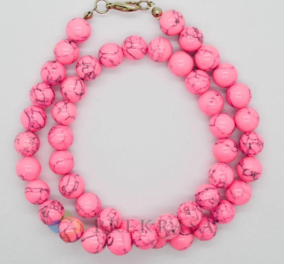 Намисто куля рожева бірюза, 45см, розмір на вибір. (10мм)