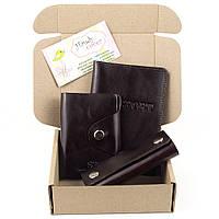 Подарочный набор №21: обложка на паспорт +картхолдер + ключница (коричневый)