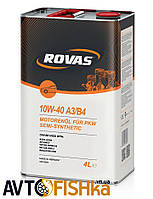 Напівсинтетичне моторне масло Rovas 10W-40 A3/B4 4л