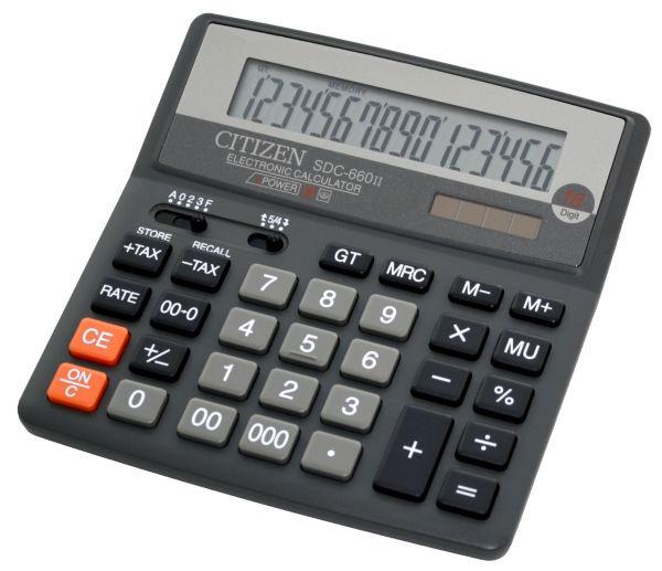 Калькулятор Citizen SDC-660II бухгалтерский, 16р.