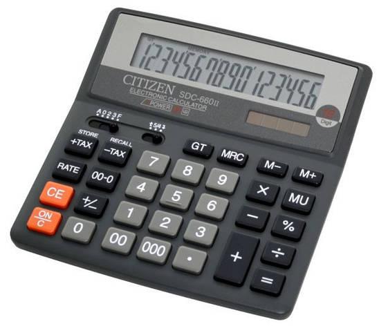 Калькулятор Citizen SDC-660II бухгалтерский, 16р., фото 2