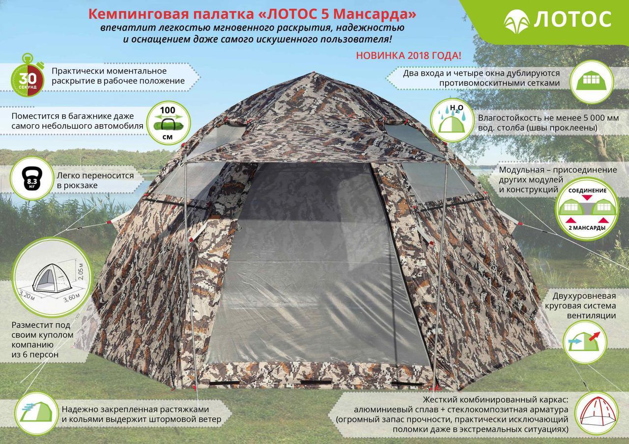"""Палатка кемпинговая """"ЛОТОС 5 Мансарда"""" (модель 2018)"""