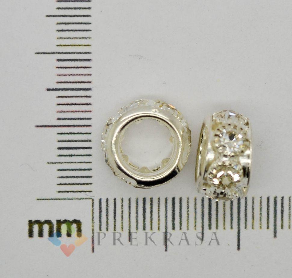 Бусина для Pandorra стразированная, 12х7мм (в упаковке 2шт.)   (серебро)