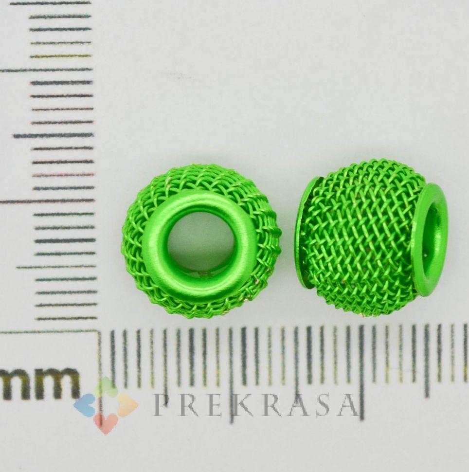 Бусина сетка для браслета Pandorra, цвет на выбор (в упаковке 10шт). (зеленый 10мм)