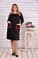 Прямое черное платье с карманами   0617-1