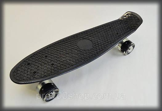 Скейт Penny Board скейтборд черный 22 ORIGINAL CABON LED детский