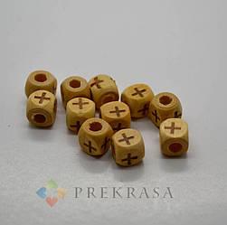 Куб с крестом, деревянная бусина, 100шт.