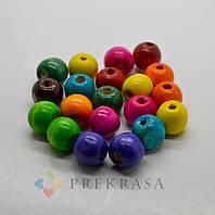 Бусины деревянные, диаметр 14мм, цвет на выбор (цветные).Упаковки по 100г- 123 шт.