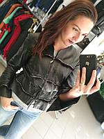 Короткая кожаная куртка, черная