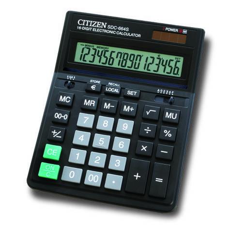 Калькулятор Citizen SDC-664S бухгалтерский 16р, фото 2