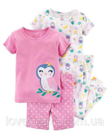 """Набор с двух пижамок 4 в 1 """"Сова"""" Carter's для девочки розовый, белый 4Т/98-105 см"""