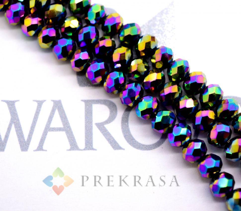 Низка бус огранка swarovski 6мм, длина 45 см, 99 бусин, цвета на выбор (фиолетовые АВ)