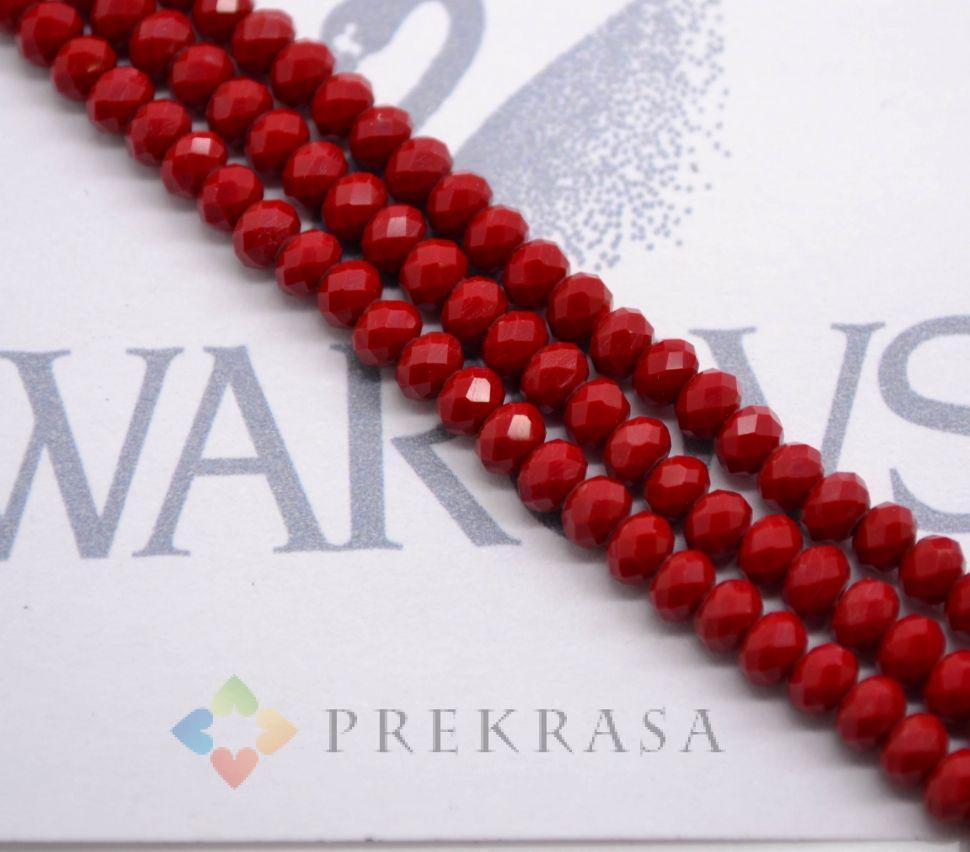 Низка бус огранка swarovski 4мм, длина 45 см, 140 бусин. (бордовый матовый)