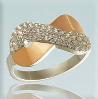 """Серебряное кольцо 925 пробы с золотыми вставками """"Бесконечность"""""""