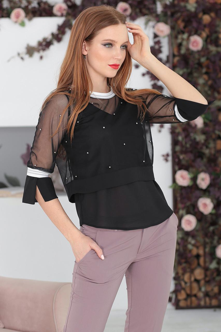 Блуза-двойка черная