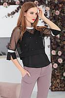 Блуза-двойка черная, фото 1