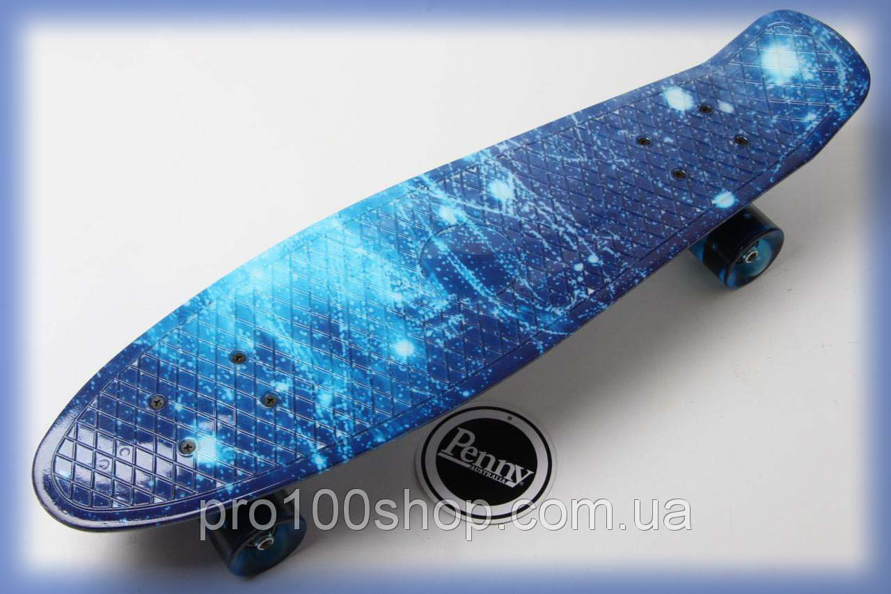 Скейтборд Penny Board ( Пенни борд ) Nickel 27 Космос светящиеся колеса, синий