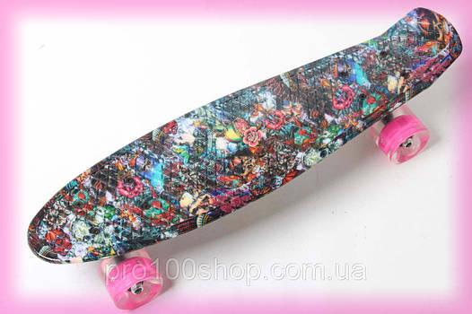Скейт penny board ( пенни борд ) 22 ORIGINAL Розочка Хипстер LED со светящимися колесами для девочки